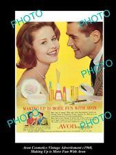 LARGE HISTORIC ADVERTISING OF AVON COSMETICS 1960, MORE FUN WITH AVON