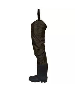 Frogg Toggs Rana II PVC Bootfoot Hip Wader Boots Cleated Outsole Brown Size 8