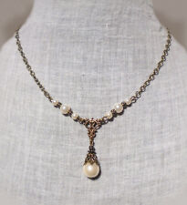FILIGREE WHITE GLASS PEARL TEAR DROP Y NECKLACE EDWARDIAN DECO VICTORIAN TUDOR