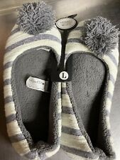 Women's Gray Stripe PomPom Slippers  ~Size LARGE 9/10 ~New With Tags~