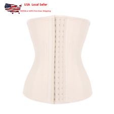 33475cced31 US Womens 25 Steel Bone Latex Waist Trainer Cincher Corset With 3 Rows of Hooks  Black