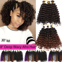 Ombre Full Head 3PCS Wave Deep Curly Crochet Braids 10% Human Hair Extensions US