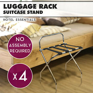 4 x Chrome Folding Luggage Rack Stand - Hotel Suitcase Rack Bag Suitcase Stand