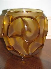 """R LALIQUE """"TOURBILLONS"""" Yellow Glass Crystal Vase Signed Rene"""