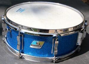 Vintage 70s Ludwig Blue Sparkle Jazz Festival 8 lug Snare Drum pointy B/O badge