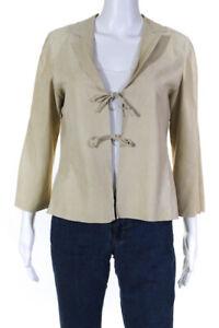 Armani Collezioni Womens Suede 3/4 Sleeve Tie Front Blazer Tan Size 8