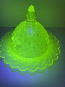 Fenton L.G. Wright Vaseline Glass Cherry Pattern Covered Butter Dish.