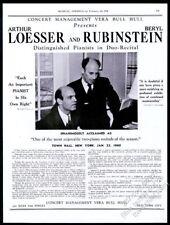 1940 Arthur Loesser Beryl Rubinstein photo piano recital tour booking trade ad