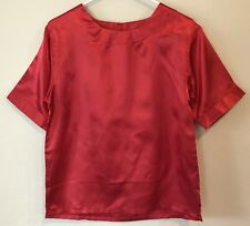 519a03260eb2ba Vintage Womens S Shirt Blouse Red Satin Pullover Short Sleeve Shine