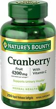 Nature's Bounty Cranberry 4200 mg With Vitamin C 250 Rapid Softgels Exp 04/2020