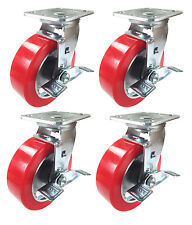 """6"""" x 2"""" Aluminum wheel Casters -  4 Swivels with Brakes"""