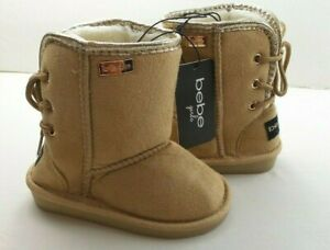 Bebe Baby Toddler Girls Lined Winter Boot 7 8 Tan Microsuede Faux Fur New MRP