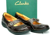 CLARKS Women's Mary Janes size 10M Brown Leather Flats Shoes ML18