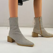Womens Embossed Leather Lace Up Zipper Block Heel Bootie Ankle Boots Shoes BYW20