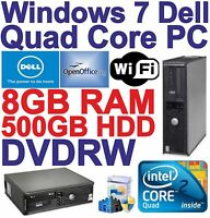 Windows 7 Dell Quad Core Desktop PC Computer - 8GB RAM - 500GB HDD - DVDRW Wi-Fi
