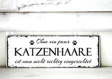Shabby Schild Vintage KATZENHAARE Nostalgie weiß Tafel DEKOSCHILD