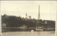 Oslo Christiania Norge Norway Oscarshal Bygdo & Sailboat Real Photo Postcard