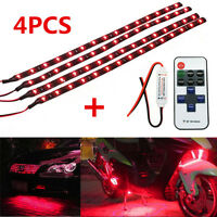 Universal Wireless Remote Control 4 Pcs LED Light Decoration For Car Motorcycle