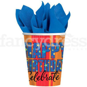 'A Year to Celebrate' 8 x 9oz Party Cups Hot or Cold Drinks Birthday Party NEW