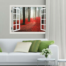 3D Forest Window View Wall Removable Art Wall Sticker  Finish size 58*83 cm