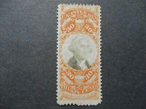 1872 US S# R140, 30c org, blk, revenue BOB Stamp Cut Cancel Used Nice