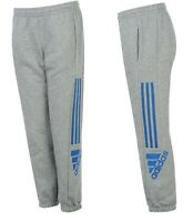 adidas 3 Striped Logo Fleece Pants Junior 11 - 12 Yrs Grey Blue Bottoms B142-1