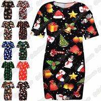 Ladies Santa Snowman Christmas Oversize Longline T-Shirt Xmas PJ Nightwear Dress