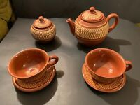 BULGARIA HANDMADE POTTERY STONEWARE BROWN & YELLOW TEA SET Rare