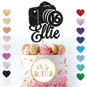 Photography camera customised cake topper glitter any name age personalised