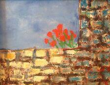 Dominique LECA 1938.Coquelicots sur le mur.Huile/toile.SBG.22x27.Titrée.Cadre.