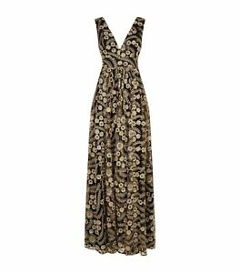 Brand New Authentic Ted Baker Reeda Double Layer Plunge Maxi Dress, Black