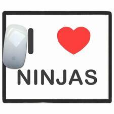 I Love Corazón Ninjas - Fino Pictoral Plástico Ratón Libreta Tapete BadgeBeast