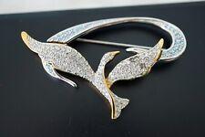 SWAROVSKI Pave Crystal Rhinestone Swan Signed Bird Open Wings Pin Brooch Rare