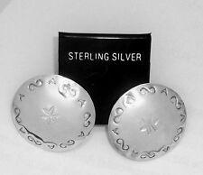 Concho Handmade 925 Sterling Silver Dome Earrings for Pierced-ear by SmithSilver