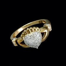 9ct Yellow Gold Large Vintage Claddagh 0.25ct Diamond Ring (Size Y)