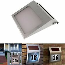 Stainless House Door Number Plaque Solar Powered LED Light Modern Home Sign