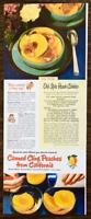1948 Canned California Cling Peaches Print Ad Old-Style Peach Cobbler