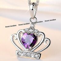 BLACK FRIDAY DEALS Silver Purple Crystal Heart Crown Necklace Xmas Gifts For Her