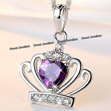 BLACK FRIDAY Xmas Gifts For Her Silver Purple Crystal Heart Crown Necklace Women