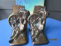 Vintage Set Of Bronze  Metal Bookend Farm Boy Reading Wagon Wheel Excellent