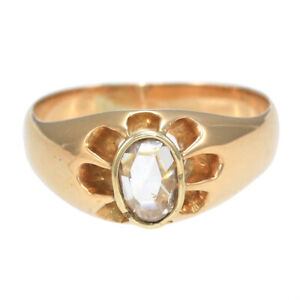 Rose Cut Diamond Buttercup Setting Antique Victorian Ring 18k YellowGold Belcher