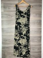 SIGNATURE BLACK BEIGE BROWN FLORAL VEST MAXI DRESS SIZE M L 12 14 8466