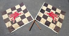 Vintage 40's 50's Mobil Oil Racing Checkered Flags w/ Pegasus Not Porcelain Sign