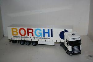 "old cars 1/43 scania topline 144-530""BORGHI TRANSPORTI LOGISTICA "" truck raro"