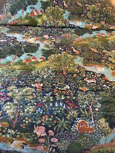 "Vintage Burlington Animal Forest Themed Quilted Bedspread 110"" X 98"" Vivid Color"