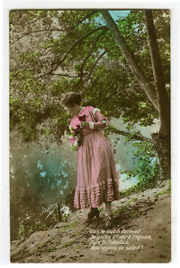 1920's French Idyllic Nature PRETTY YOUNG LADY photo postcard