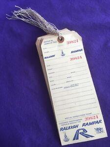24 NOS Vintage 1970s RALEIGH RAMPAR Repair & Service TAG 39801-39824 Shop Patina