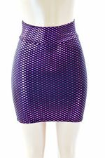 SMALL Tiny Checkered Fuchsia Metallic Spandex Bodycon Mini Skirt Clubwear NWT