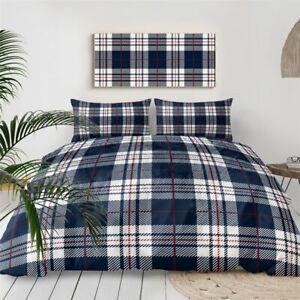 Blue Tartan Scottish Scotland King Queen Twin Quilt Duvet Pillow Cover Bed Set