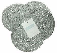 Metallic Silver/silver Effect Pack of 4 Round Coasters 4in - 10cm Diameter